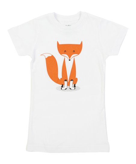 White A Fox with Socks Tee - Girls