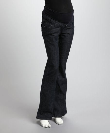 Dark Wash Mid-Belly Maternity Flare Jeans - Women