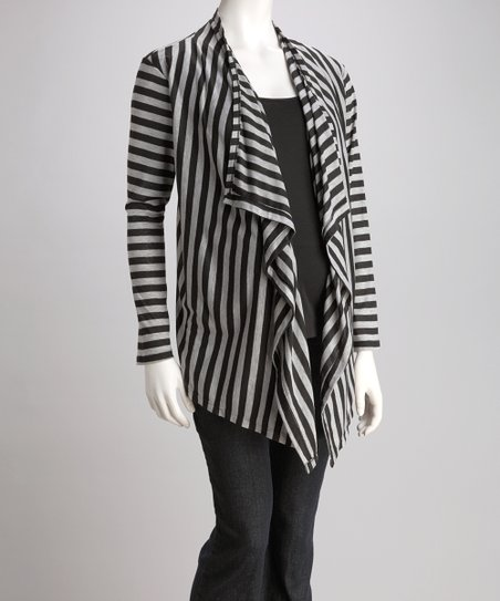 Black & Heather Gray Stripe Layered Open Cardigan