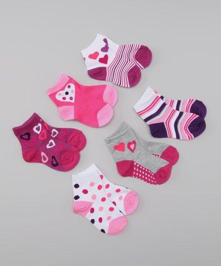 Purple & Pink Hearts & Dots Socks Set