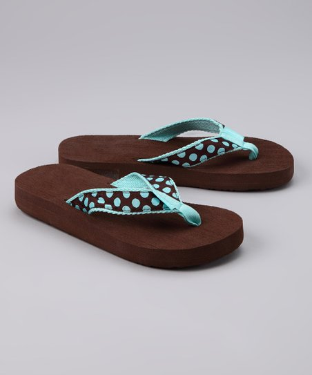 Tidewater Brown &amp; Turquoise Polka Dot Flip-Flop - Kids