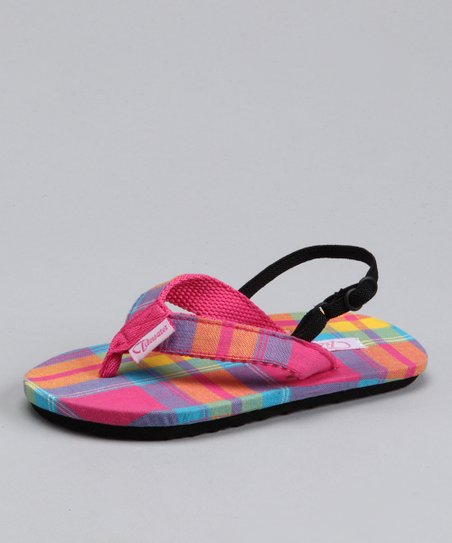 Pink & Orange Plaid Sandal - Kids