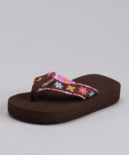 Pink & Brown Flower Flip-Flop - Kids