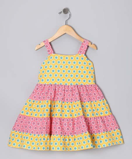 Pink &amp; Yellow Floral Tiered Sundress - Toddler &amp; Girls