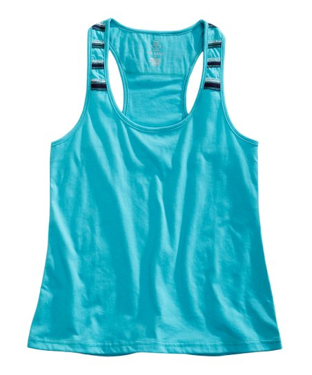Tin Haul Aqua Blue Stripe Racerback Tank