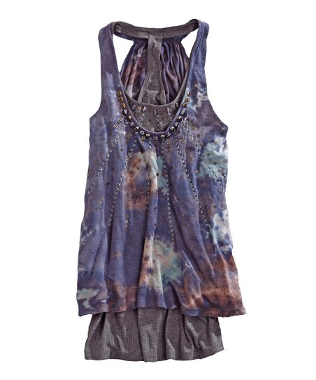 Tin Haul Purple Embellished Layered Tank