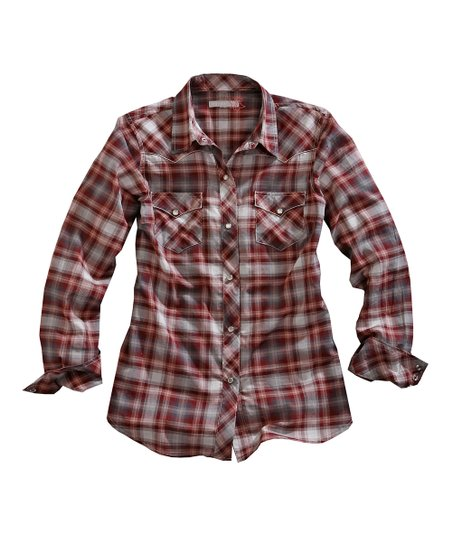 Tin Haul Red &amp; White Fast Start Plaid Button-Up