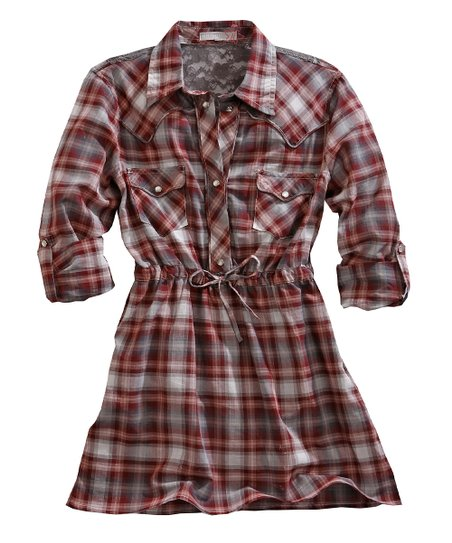 Tin Haul Red & White Fast Start Plaid Lace-Back Tunic