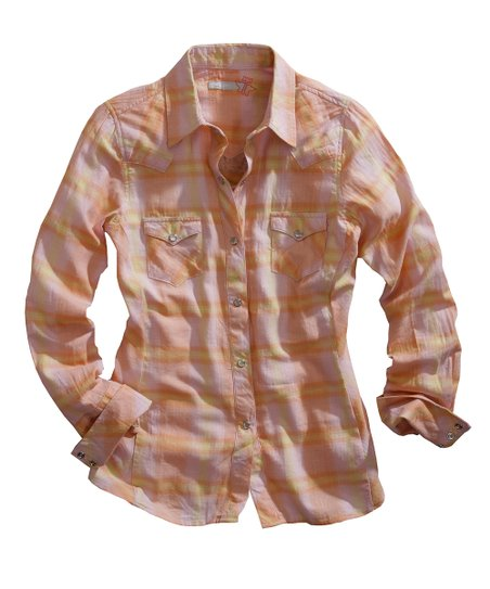 Orange & White Plaid Button-Up - Women
