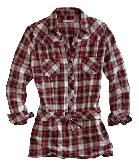 Red & White Fast Start Plaid Collared Tunic