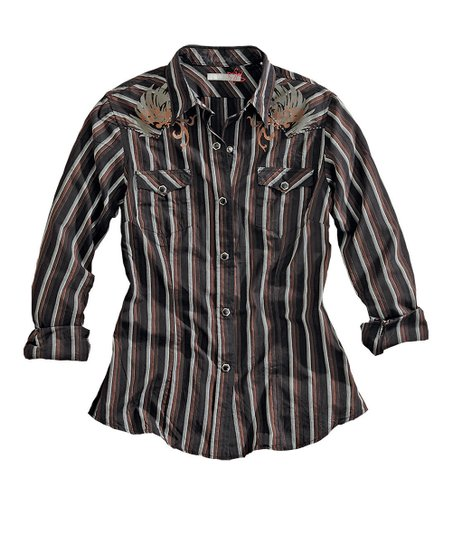 Black Stripe Skull Button-Up - Men