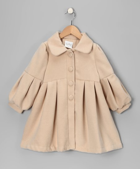 Beige Pleated Coat - Infant, Toddler & Girls