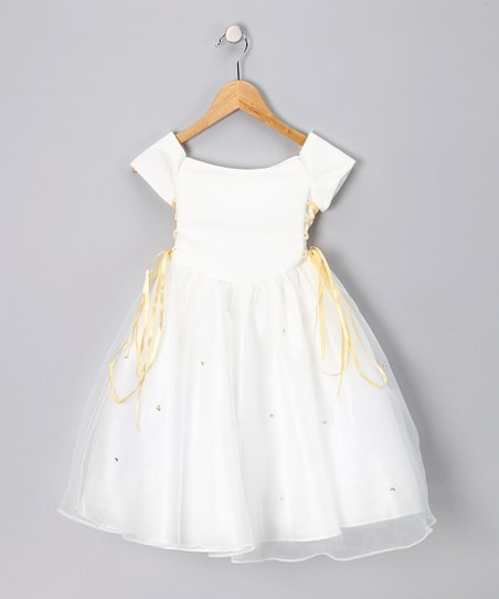 Ivory & Gold Lace-Up Cap-Sleeve Dress - Toddler