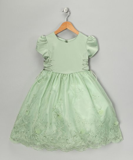 Sage Embroidered Cap-Sleeve Dress - Girls