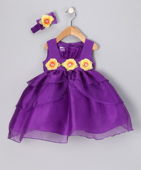 Purple &amp; Yellow Flower Dress &amp; Headband - Infant