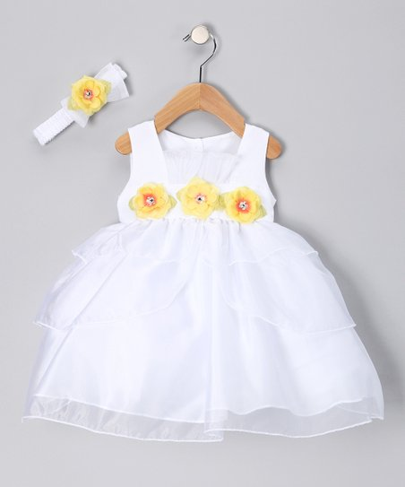 White & Yellow Flower Dress & Headband - Infant & Toddler