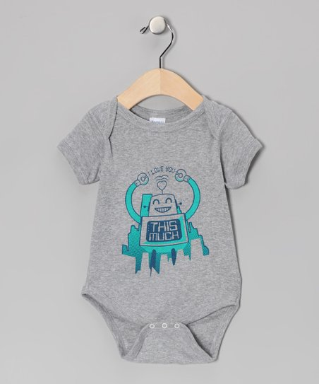 Gray & Turquoise 'I Love You This Much' Robot Bodysuit