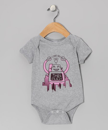 Gray & Pink 'I Love You This Much' Robot Bodysuit - Infant