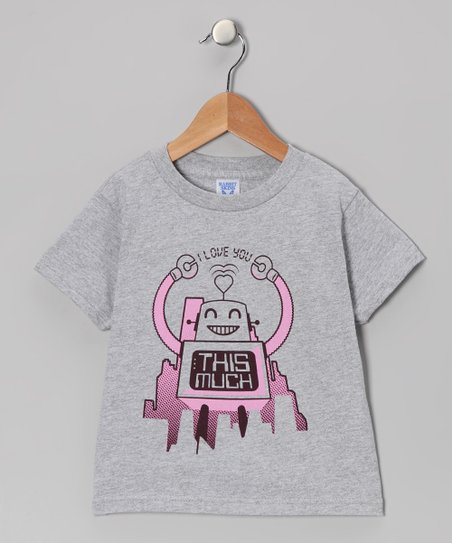 Gray & Pink 'I Love You This Much' Robot Tee - Toddler