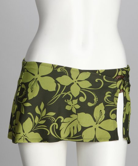 Sunset Olive Skirted Bikini Bottoms