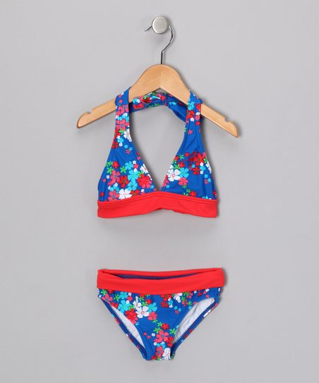 Blue & Red Flower Power Halter Bikini - Girls