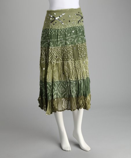 Olive Sequin Crinkle Skirt