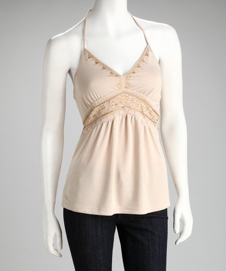 Tan Embellished Halter Top