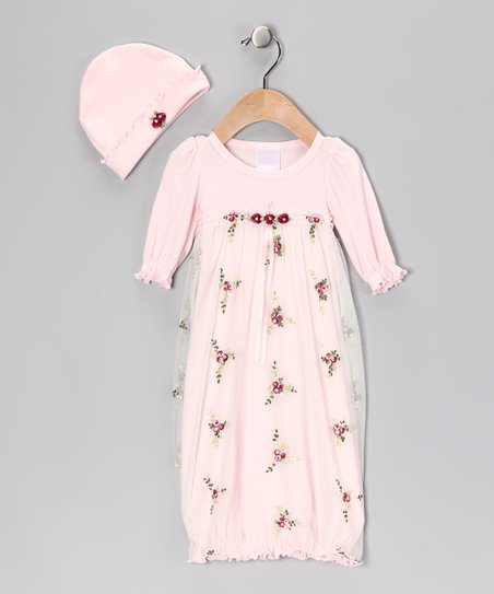 Pink & Burgundy Floral Lace Gown & Beanie - Infant