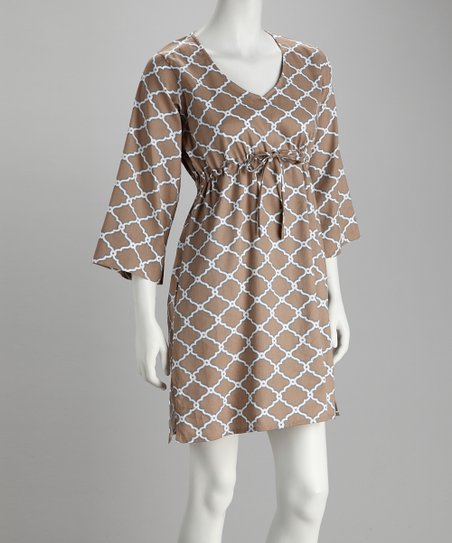 Brown Abstract Diamond Dress