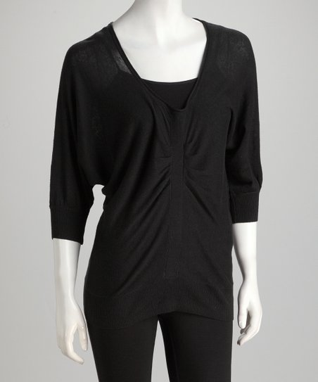Topin Black Ruche V-Neck Dolman Sweater