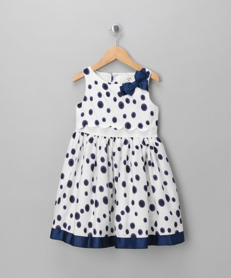 White & Blue Polka Dot Empire Dress - Infant, Toddler & Girls