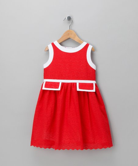 Red & White Empire Dress - Girls