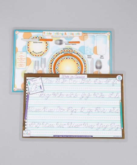 Cursive & Etiquette Activity Place Mat Set
