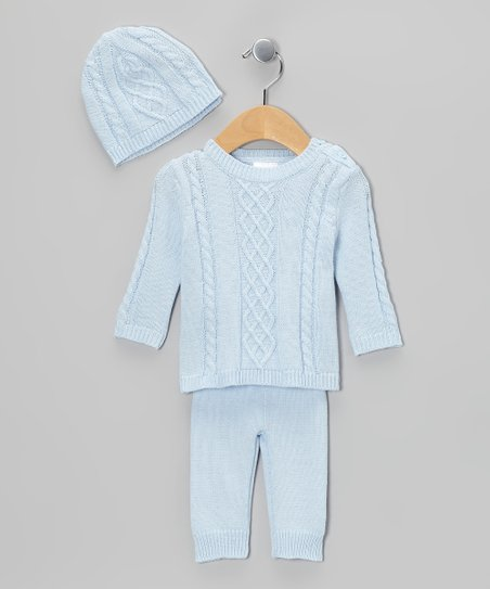 Blue Cable-Knit Sweater Set - Infant