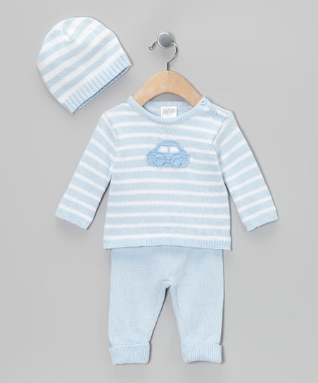 Blue Stripe Car Knit Sweater Set - Infant