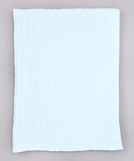 Blue Cable-Knit Receiving Blanket