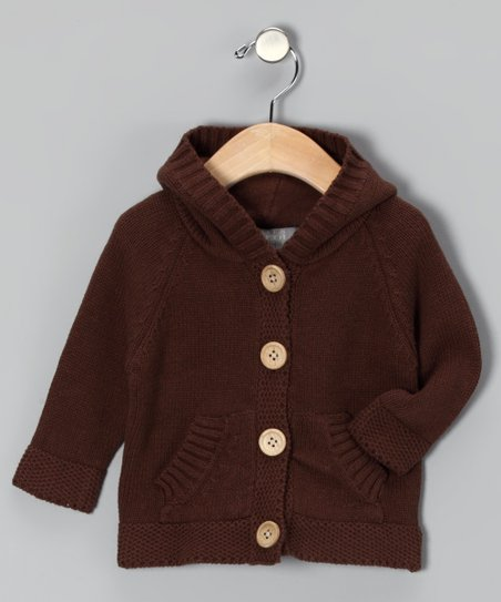Brown Knit Button-Up Hoodie