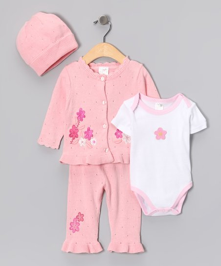 Pink Flower Ruffle Cardigan Set - Infant