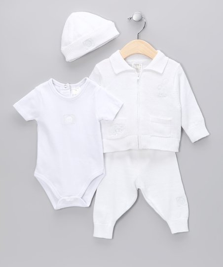 White Smiley Cardigan Set - Infant