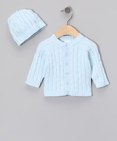 Blue Cable-Knit Cardigan & Beanie