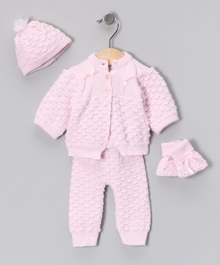 Pink Knit Cardigan Set