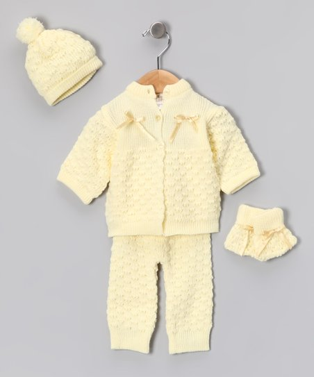 Yellow Knit Cardigan Set