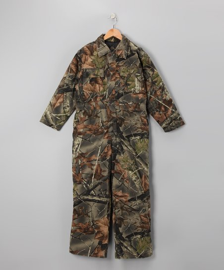 Green Camouflage Waterproof Coveralls - Boys