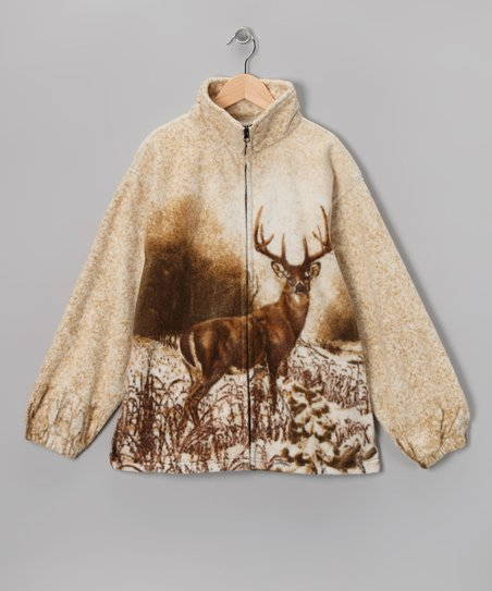 Beige Deer Fleece Jacket - Girls & Women