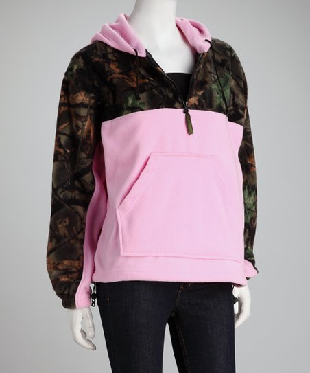 Trail Crest Pink Camo Fleece Hoodie - Women