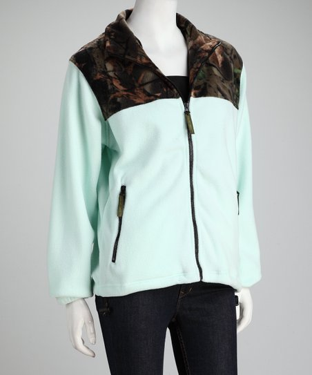 Mint Green Camo Fleece Jacket - Women