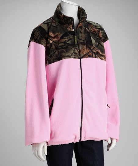 Pink Camo Fleece Jacket - Women & Plus