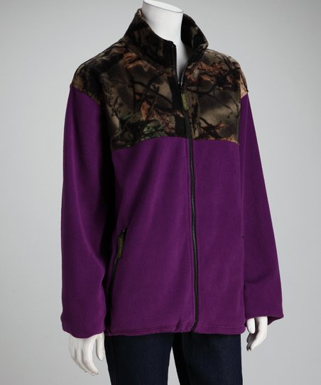 Dark Purple Camo Fleece Jacket - Women & Plus