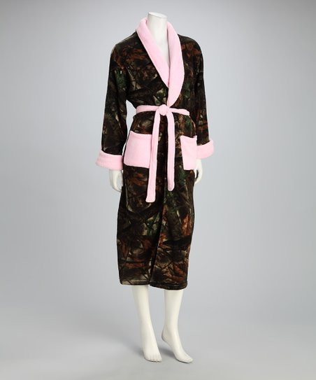 Camo & Pink Fleece Robe - Women