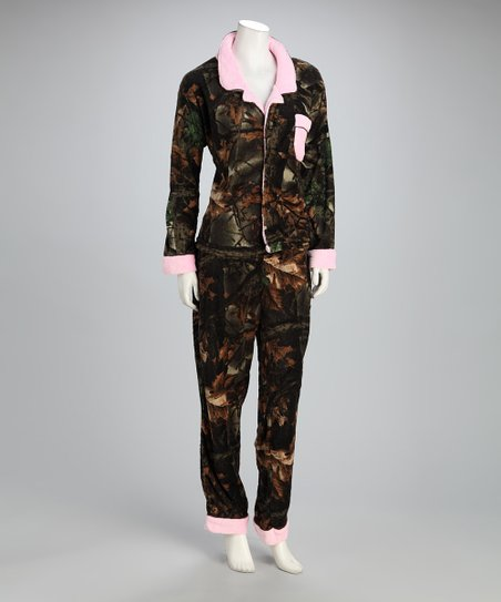Trail Crest Pink Camo Fleece Pajama Set - Girls
